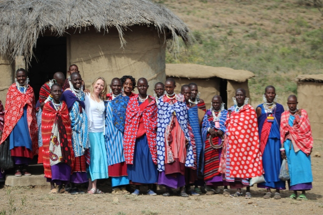 Maasai ladies and Susan at January 2012 AGM - Kilimanjaro